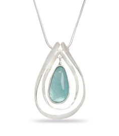Stunning one of a kind Teardrop Ancient Roman Glass bezel Set in Sterling Silver.