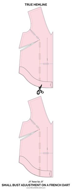 How to do a Full Bust Adjustment FBA or Small Bust Adjustment SBA on a French dart! Comprehensive and detailed tutorial by Megan Nielsen Patterns Full Bust Adjustment, Stitch Lines, Pattern Drafting, French, Couture, Patterns, Sewing, Stylish, Boss
