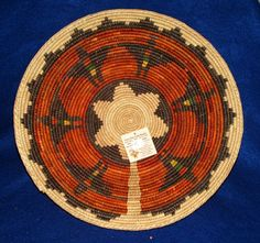 """Large finely woven  13.5x2.5"""" basket. Bird design. Great for fruit, snacks & entertaining. Beautiful enough to hang on your wall as a colorful accent.  $22.95 #basket #nativeamerican"""
