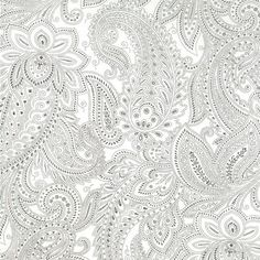 Half Moon Modern Paisley in White - 1 yard, more avail.. $9.00, via Etsy.