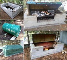 Large DIY Rotisserie with Cinder/Besser Blocks and 44 Gallon Drum Tutorial