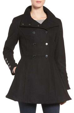 Calvin Klein Wool Blend Fit & Flare Jacket
