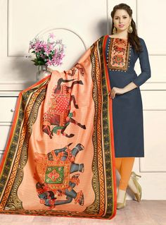 Buy Gray Cotton Kameez With Churidar 120756 online at lowest price from vast collection at m.indianclothstore.c.