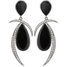 Women's White Gold Earrings by Jorge Adeler 14KT White Gold, Black... ($6,415) ❤ liked on Polyvore featuring jewelry, earrings, accessories, diamond, black, diamond earrings, white gold stud earrings, pear diamond earrings, holiday earrings and black onyx stud earrings