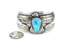Native American Navajo Indian Jewelry SS Birds Eye Kingman Thunder Bird Bracelet