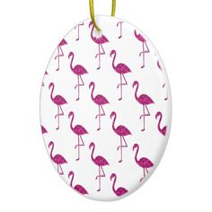 Sparkly flamingo Pink glitter sparkles pattern white Ceramic Christmas tree Ornament by #PLdesign #holidays #homedecor #home @zazzle
