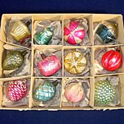 Box 12 Antique Figural Feather Tree Glass Christmas Ornaments
