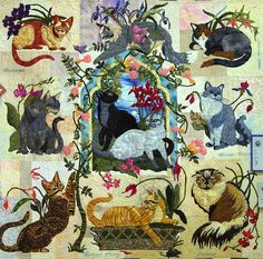 My Cats Garden BOM Maggie Walker 9 Applique Quilt Patterns Set #MaggieWalkerDesigns