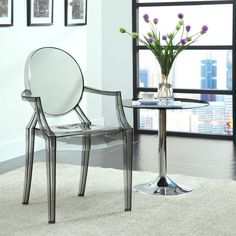 Combine an artistic look with the ethereal air of the Modway Casper Dining Arm Chair. Ideal for your contemporary styled room, it offers a comfortable, yet sturdy and durable plastic design that is also stackable for convenience when not in use. Patio Dining Chairs, Dining Arm Chair, Side Chairs, Furniture For You, Modern Furniture, Acrylic Furniture, Furniture Ideas, Acrylic Chair, Condo Furniture