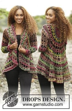 """Fall Festival - Crochet DROPS jacket worked in a circle in """"Big Delight"""". Size: S - XXXL. - Free pattern by DROPS Design"""