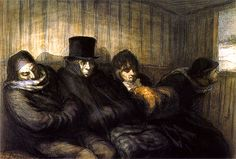 The Second Class Carriage 1864 | Ink, watercolor and lithographic pencil on paper | 205 x 301 mm, Honoré Daumier
