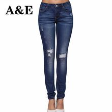 Alice & Elmer Hole Ripped Jeans Women Jeans Woman Jeans For Girls Stretch Mid Waist Skinny Jeans Female Pants //FREE Shipping Worldwide //