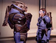 My in-game Mass Effect 2 Garrus and Female Shepard (Femshep) in Citadel by dinglouisa