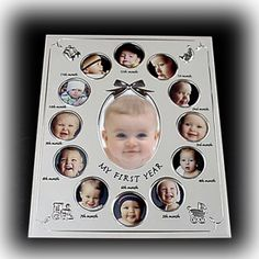 My First Year - Pewter Baby Collage Frame | Nuptial Knick Knacks A ...