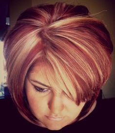 Red and blonde highlights... Taking someone from dark brown to this