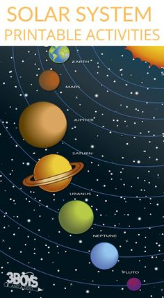 made these Free Solar System Printables in a scaled-to-size ebook that you can print out and use to your heart's content.  Also includes a list of several great activities and printables to help you teach about space! #milkyway #solarsystem #outerspace #3boysandadog