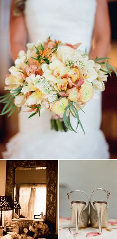 white-orange-wedding-bouquet with hints of pink and eucalyptus accents