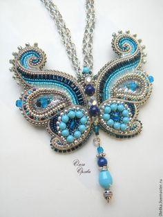 Купить Бабочка - синий, бабочка, ольга орлова, брошь-бабочка, канитель, сваровски swarovski