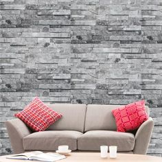 Hyfive - Wallpaper 3D Brick Effect - Natural - Grey Stone Colour - 10 x 0.53 m - WP100 - Flooring, painting and decorating