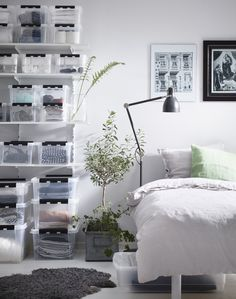 Bedroom with SmartStore Classic storage boxes