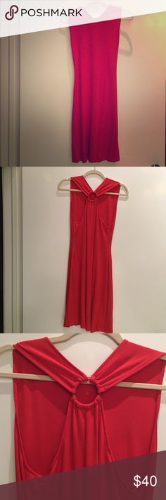 Diane von Furstenberg red jersey midi dress Super flattering, crew neck, Diane von Furstenberg jersey dress. Visible wear (light staining on bottom) from wearing this dress every time I needed some confidence! Reflected in price. Diane von Furstenberg Dresses Midi