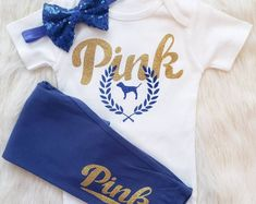 The Navy Sequin Bows are no longer in stock Make her mamas little mini! The gorgeous navy and gold us sure to catch attention. The Bodysuit is made on Carters brand babysoft cotton to ensure a comfy fit - September 29 2019 at Baby Pink Clothes, Cute Baby Girl Outfits, Kids Outfits, Summer Clothes, Baby Girl Fashion, Fashion Kids, Everything Baby, Future Baby, Cute Babies