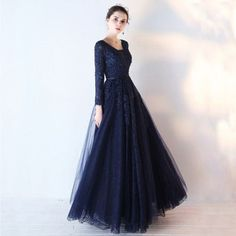 Chic / Beautiful Navy Blue Prom Dresses 2017 A-Line / Princess Long Sleeve V-Neck Appliques Lace Sequins Beading Sash Floor-Length / Long Backless Formal Dresses Navy Blue Prom Dresses, Elegant Prom Dresses, Prom Dresses 2017, Formal Evening Dresses, Ball Dresses, Trendy Dresses, Beautiful Dresses, Dress Formal, Dress Long