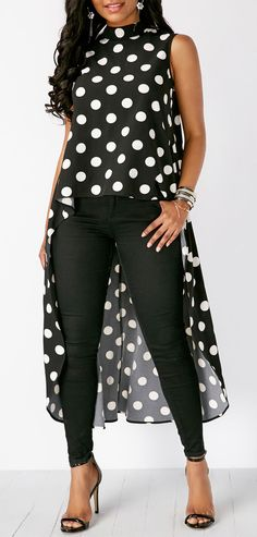 Limsea Womens Black High Low Chiffon Blouse Fashion Casual Sleeveless Polka Dot Tops >>> To view further for this item, visit the image link. (This is an affiliate link) Trendy Dresses, Modest Dresses, Look Fashion, Fashion Outfits, Womens Fashion, Mein Style, Mode Hijab, Long Blouse, Black Blouse