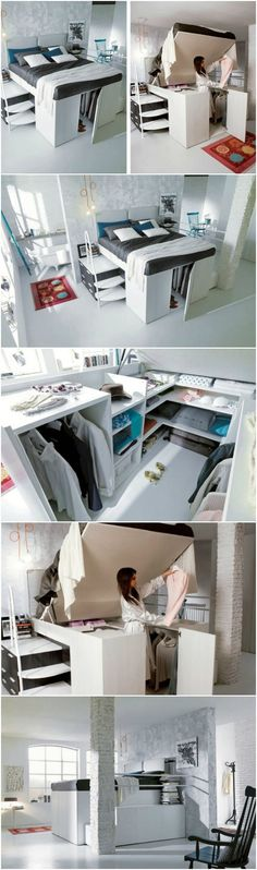 Italian Designers Invent The Most Creative Bed Storage Unit. http://www.itinyhouses.com/tiny-living/italian-designers-invent-creative-bed-storage-unit/