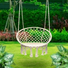 EverKing Hanging Rope Hammock Chair Porch Swing Seat, Large Hammock Net  Chair Swing, Cotton Rope Porch Chair For Indoor, Outdoor, Garden, Patio,  Porch, ...