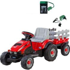 Your 2-4 year old will spend hours riding and playing with this CASE IH Lil Tractor & Trailer. Rechargeable battery powered tractor operates at 2¼ mph indoors or outside on smooth level grass dirt or...