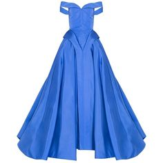 Christian Siriano Off Shoulder Ball Gown ($9,617) ❤ liked on Polyvore featuring dresses, gowns, gown, long dress, blue, christian siriano, long blue dress, long cocktail dresses, blue evening dresses and royal blue evening dress