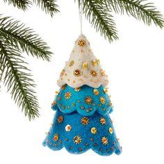 Tiered Blue Christmas Tree Felt Ornament - Silk Road Bazaar (O) Felt Christmas Decorations, Felt Christmas Ornaments, Handmade Christmas, Christmas Crafts, Blue Christmas, Christmas Christmas, Christmas Villages, Christmas Nativity, Victorian Christmas