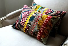 wax fabric for african pillows / Look these at WWW.THEAFRICANTOUCH.COM / Ethnic Global African Home Decor and Style…