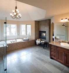 Traditional Bathroom Design, Pictures, Remodel, Decor and Ideas A fire place in the master bathroom? Bathroom Fireplace, Cozy Bathroom, Modern Bathroom, Master Bathrooms, Tile Fireplace, Master Bedroom, Small Bathroom, Eclectic Bathroom, Cozy Fireplace