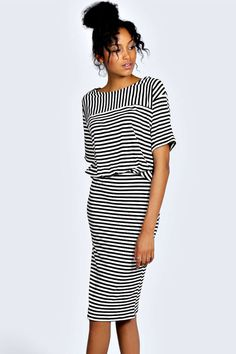 Stripe 2 in 1 Midi Dress - multi