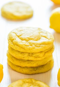 Soft and Chewy Lemon Cookies - Packed with big, bold lemon flavor for all you lemon lovers! They're soft, chewy and not at all cakey! Probably won't do the food coloring. Köstliche Desserts, Lemon Desserts, Lemon Recipes, Delicious Desserts, Dessert Recipes, Yummy Food, Healthy Desserts, Lemon Cookies, Yummy Cookies