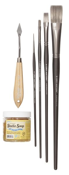 ESSENTIAL BRUSH & KNIFE SET Includes a set of brushes, palette knife and studio soap.  $45.00