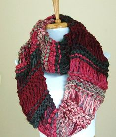 Where The Woolly Things Are - chunky hand knit infinity scarf victorian christmas green and rose