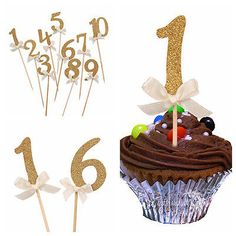 Number Cupcake Toppers Picks Birthday Wedding Decoration Kids Party Anniversary