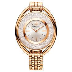 Crystalline Oval Watch, Metal bracelet, White, Rose-gold tone PVD   Swarovski.com Swarovski Watches, Swarovski Jewelry, Swarovski Crystals, Swan Logo, Golden Jewelry, Silver Jewelry, 925 Silver, Sterling Silver, Silver Ring
