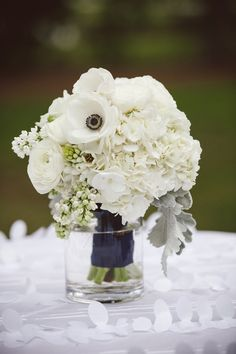 bouquet inspo - White Rose Anemone and Hydrangea Arrangement | photography by http://www.ameliaanddan.com/