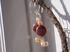 Freshwater pearl dangle earrings with trio of by OneZenFlower