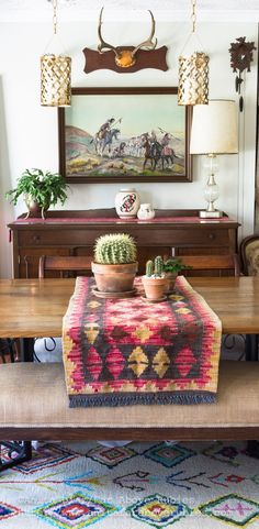 Far Above Rubies: Bohemian Chic Spring Home tour dining tablescape with cacti