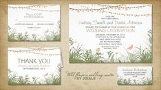 MEADOW OF WILDFLOWERS AND STRING OF LIGHTS WEDDING INVITATION