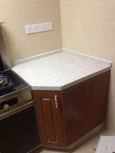 White Sparkle Engineered Quartz Countertop And Kitchen Wooden Cabinet Base