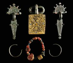 Visigoth jewelry, brooch,fibula,necklace.  Museo Arqueologico, Madrid, Spain