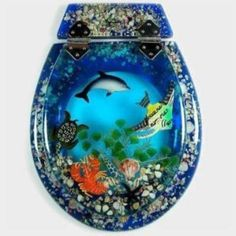 Mixed Marine Bluewash  3pce  - All Seats  - Animals  - Marine  - Loo with a View Hand Made Poly Resin Toilet Seats & Accessories