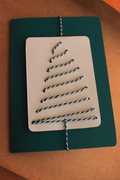 Stitched tree card teal colour by Dottypottycrafts on Etsy, £2.75