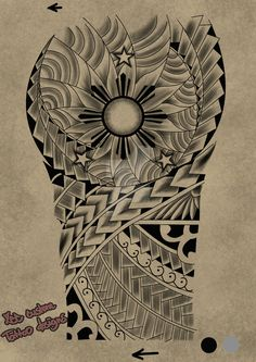 Tattoo request design Maori 3 stars and the sun by maherosan123